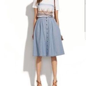 Madewell Blue Chambray Midi Buttons Skirt